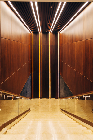 Staircase in modern building. Stairs goes down