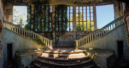 Ruined mansion interior overgrown by plants Overgrown by ivy windows and old staircase. Nature and abandoned architecture, green post-apocalyptic concept. Stok Fotoğraf