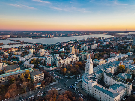 Evening autumn Voronezh, aerial view from drone to central part of Voronezh downtown Archivio Fotografico