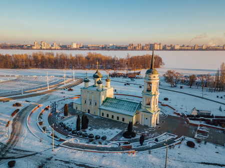 Evening Voronezh, aerial view. Admiralteiskaya square, Assumption (Admiralty) Church and monument of first Russian ship.