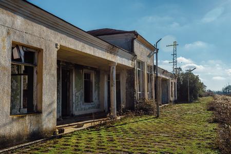 Old ruined abandoned railway station Abkhazia, Georgia Banco de Imagens