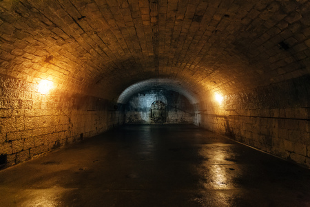 Large empty old dark underground vaulted cellar.