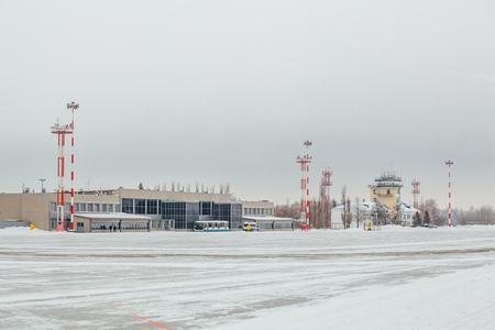 Main building of airport terminal in winter