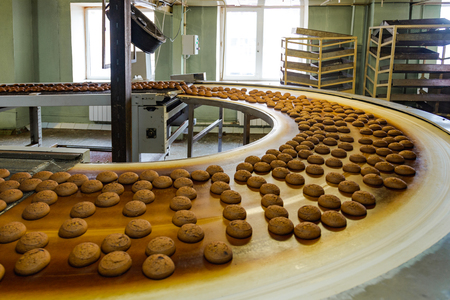 Production line of confectionery factory.  Cookies moving on turning conveyor belt. Stock Photo