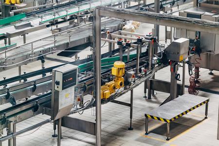 Conveyor belts of production line, close up