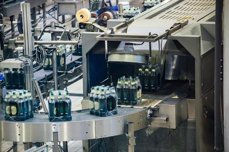 Automated beer bottling production line. Packed beer bottles on conveyor belt. 免版税图像