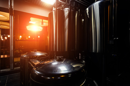 Craft beer production line in small private brewery