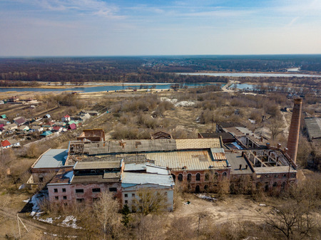 Ruined abandoned factory, aerial view.