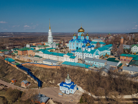 Nativity of Our Lady Monastery and Cathedral of Vladimir icon of Mother of God in Zadonsk, Lipetsk region, aerial view, taken by drone. 免版税图像