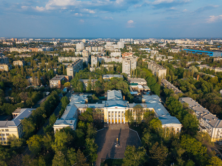 Voronezh city in summer day, aerial view from drone.