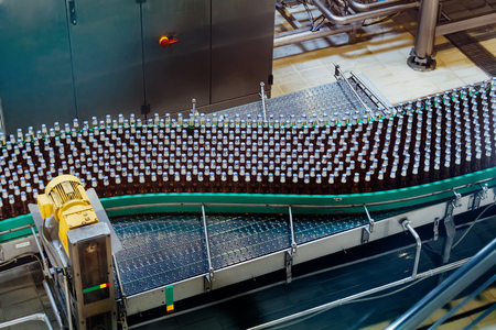 Beer bottles moving on conveyor belt, close up