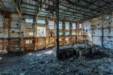 Abandoned and ruined sugar factory in Lower Kislyay, Voronezh region
