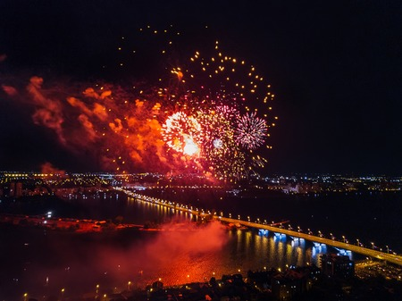 Firework above Voronezh during celebration of Victory Day, aerial view taken by drone.
