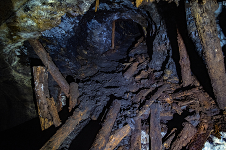 Abandoned collapsed old coal mine. Old derelict coal development Imagens
