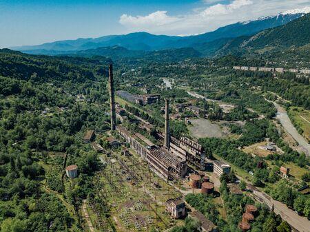 Aerial view of abandoned Tkvarcheli thermal power plant, Abkhazia, Georgia. Banco de Imagens