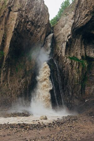 Beautiful and powerful waterfall in valley Gili-su at Caucasus.