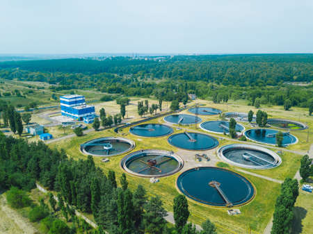 Modern sewage treatment plant, aerial view from drone Banco de Imagens