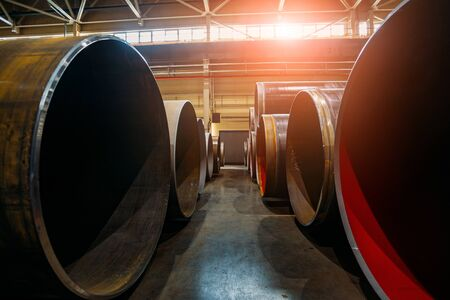 Steel pipes for water or gas pipeline construction in warehouse