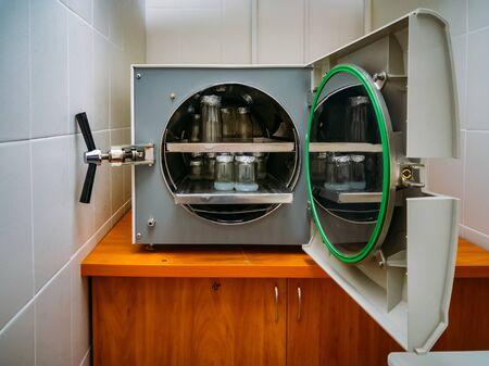 Test tube with scientific samples in thermostat Foto de archivo