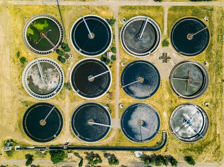 Modern sewage treatment plant, top view from drone.