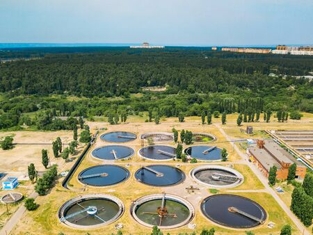 Modern sewage treatment plant, aerial view from drone.