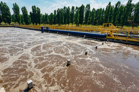 Modern wastewater treatment plant. Tanks for aeration and biological purification of sewage.