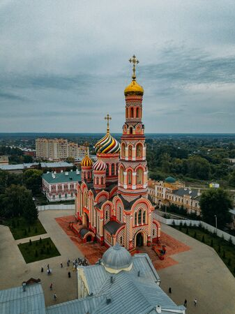 Aerial view from drone of Ascension Cathedral in Tambov, Russia.