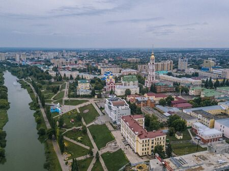Tambov, historical downtown in cloudy summer, aerial view from drone