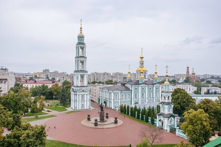 Aerial view of city of Tambov Cathedral Square and Transfiguration Cathedral