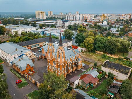 Roman Catholic Church of the Exaltation of the Holy Cross in Tambov, Russia, aerial view.
