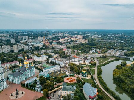 Tambov, historical downtown in cloudy summer, aerial view from drone. Stok Fotoğraf