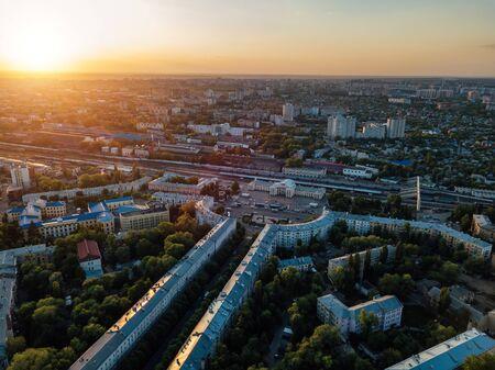 Evening sunset in summer Voronezh. Railway station district. Stok Fotoğraf