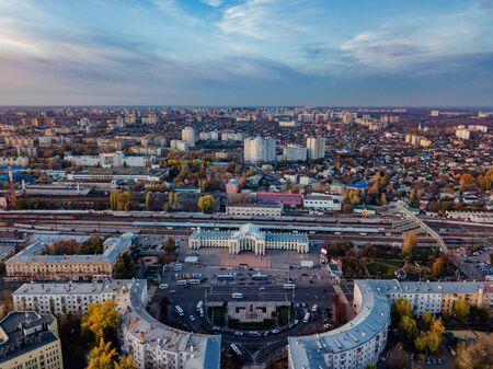 Evening sunset in autumn Voronezh. Railway station district.