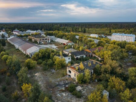 Old abandoned industrial area of former Soviet prison colony.