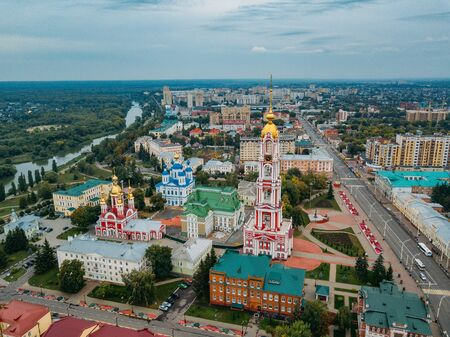 Aerial view of city of Tambov and Kazan icon of Our Lady Monastery.