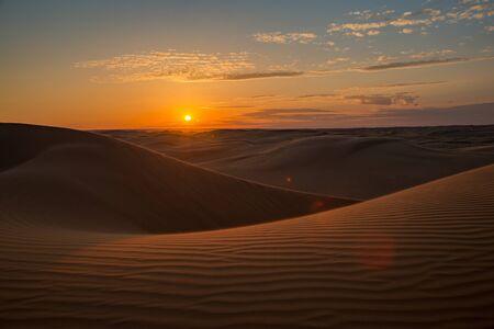 Sunset in the barkhan dessert in Kazakhstan Stockfoto