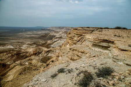 The break at the edge of the plateau of Ustyurt, cliffs, chinks, Kazakhstan