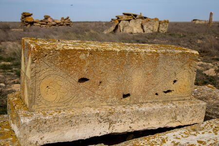 Tombstones of abandoned ancient Muslim necropolis in the Kazakhstan desert