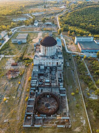 Abandoned and ruined Nuclear Power Plant for heat supply in Voronezh, aerial view from drone.