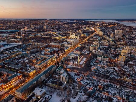Evening winter Voronezh downtown. Revolution prospect and historical center from drone. Stok Fotoğraf
