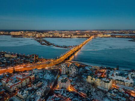Evening winter Voronezh, Chernavsky bridge, aerial view Фото со стока