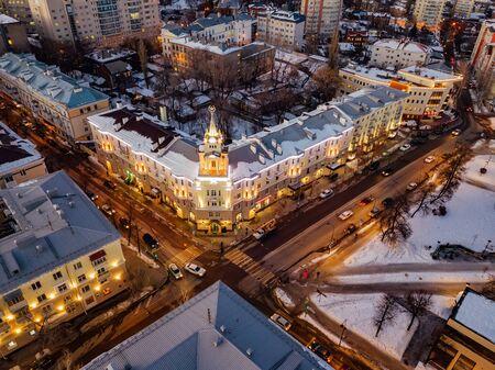 Night Voronezh downtown district. Aerial  view taken by drone. Stok Fotoğraf