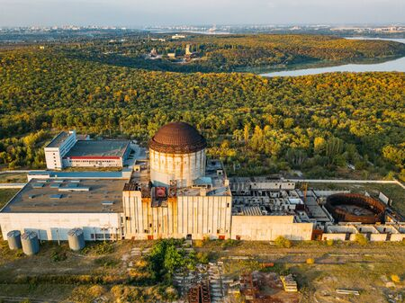 Abandoned and ruined Nuclear Power Plant for heat supply in Voronezh, aerial view from drone. Stok Fotoğraf - 130126915