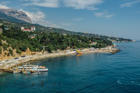 Rocky Black sea coast in Yalta district, Crimea. Imagens