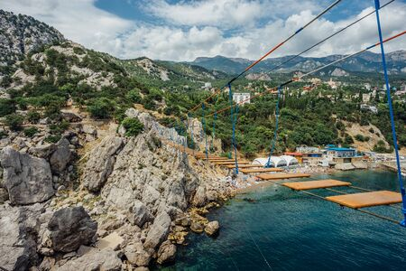 Suspension bridge over Black sea in Simeiz, Crimea.