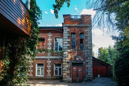 Old red brick house in historical part of Voronezh.
