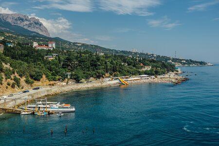 Rocky Black sea coast in Yalta district, Crimea. Stok Fotoğraf
