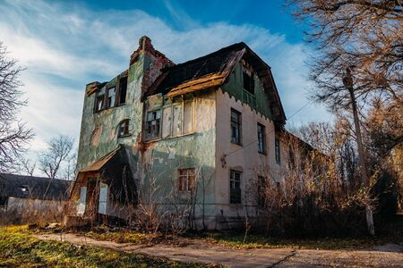 Old abandoned former mansion Olgino in Voronezh region. Stock Photo