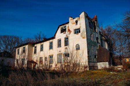Old abandoned former mansion Olgino in Voronezh region.