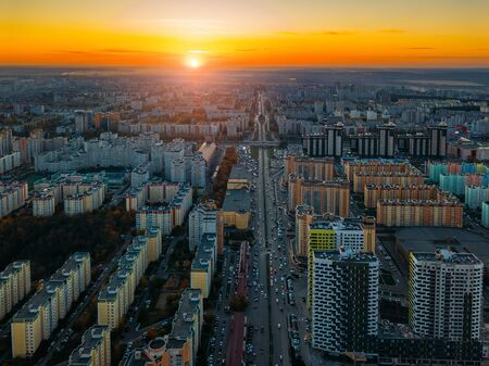 Sunset above modern residential area in Voronezh, aerial view from drone. Stockfoto